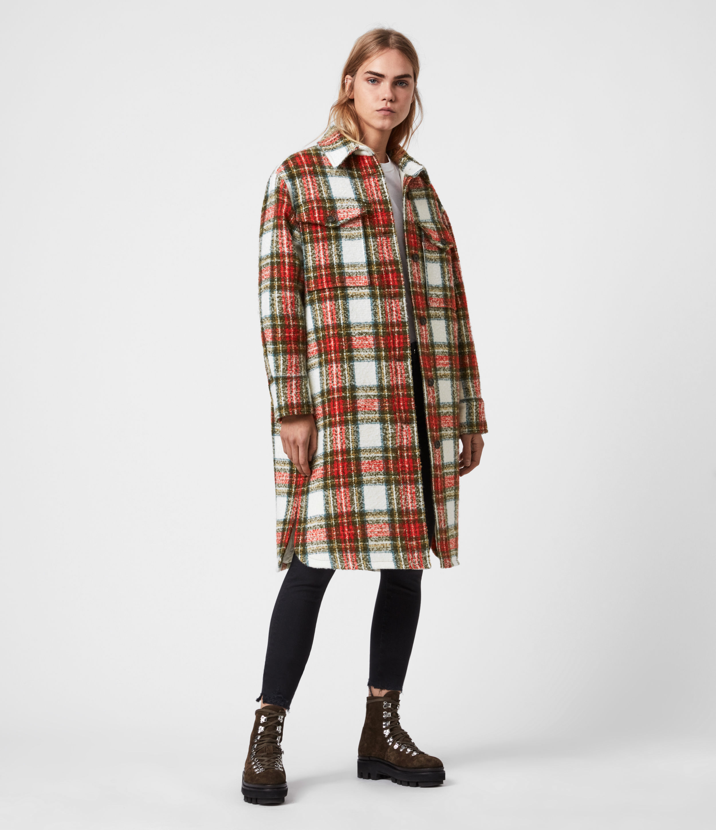 AllSaints Women's Wool Check Classic Nia Blend Coat, White, Red and Orange, Size: 8