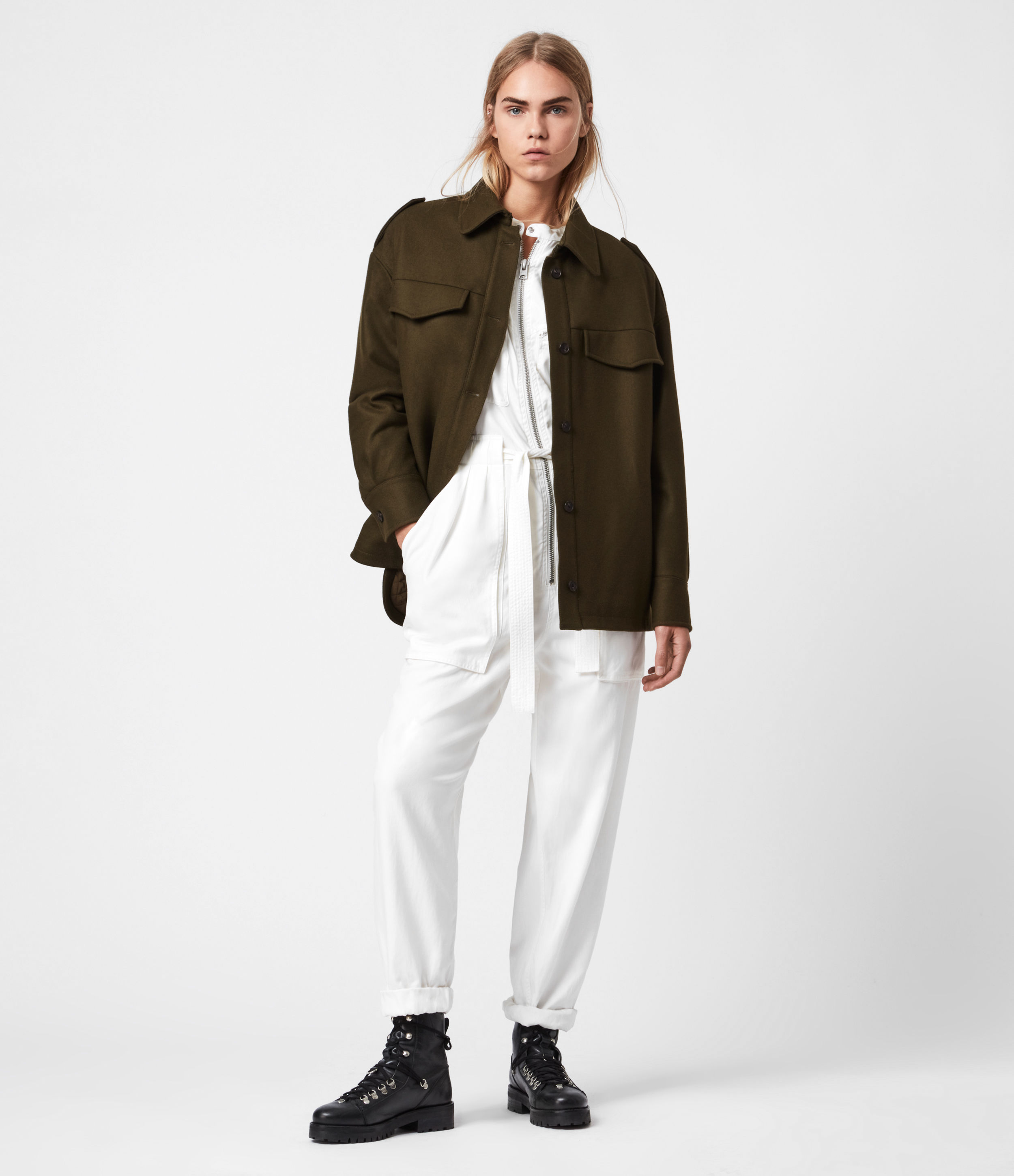 AllSaints Emery Wool-Cashmere Blend Quilted Jacket