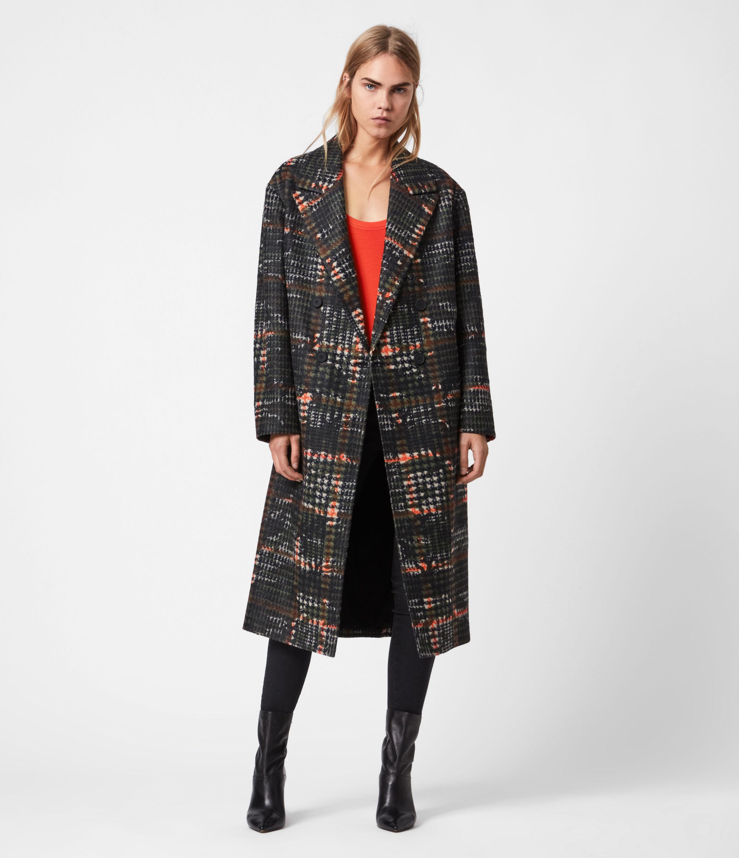 AllSaints Women's Lottie Wool Blend Camo Coat, Black/orange, Size: 6