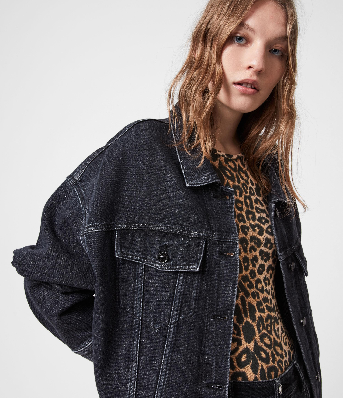 AllSaints Women's Piper Denim Jacket, Washed Black, Size: 2