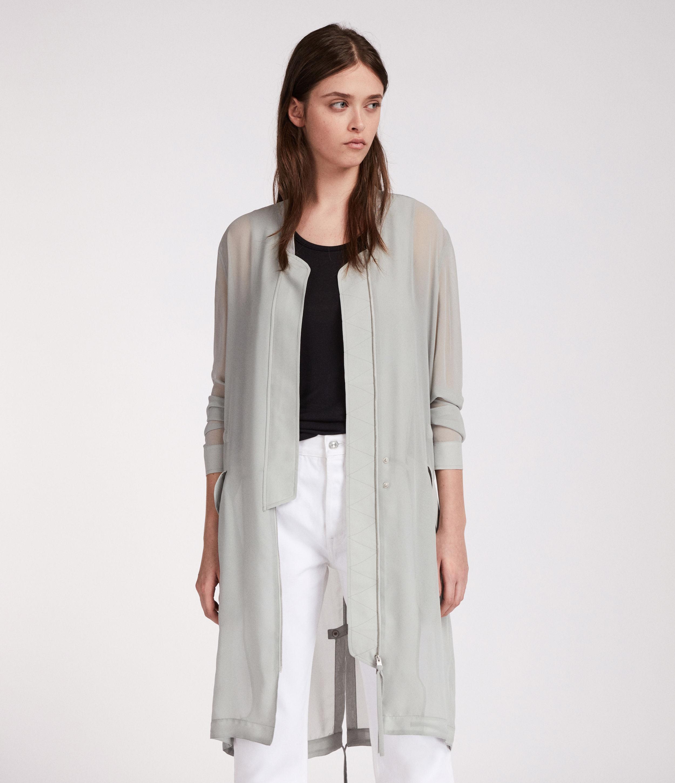 AllSaints Womens Elio Sheer Parka, Green, Size: M