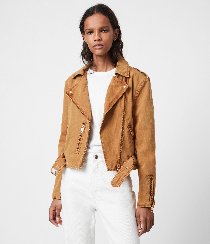 AllSaints Women's Dessa Balfern Denim Biker Jacket, Caramel, Size: 10