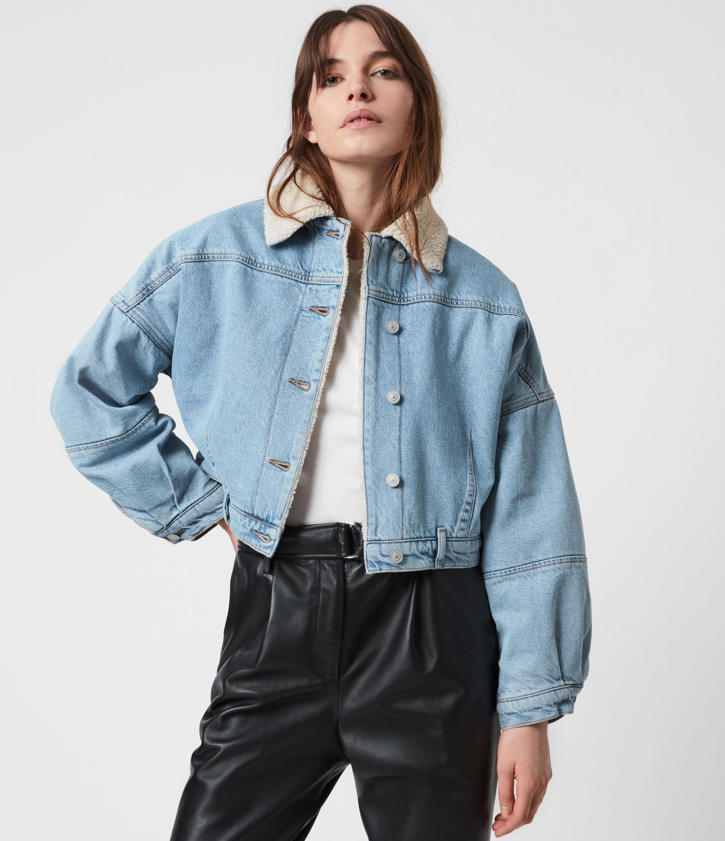 AllSaints Womens Cropped Sherpa Lined Denim Jacket, Light Indigo, Size: 10