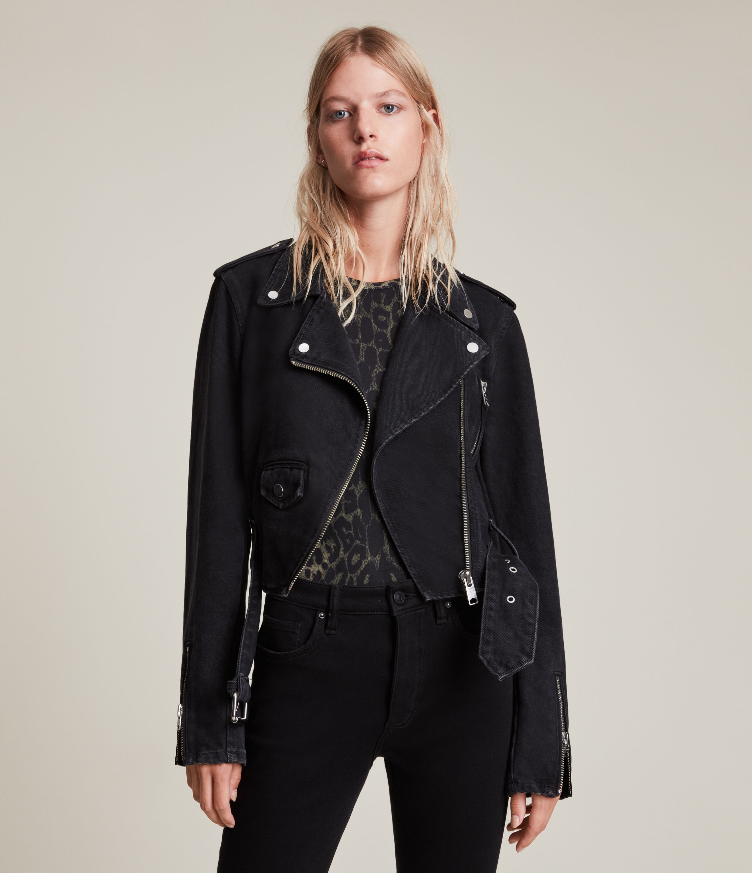 AllSaints Women's Balfern Cropped Denim Jacket, Washed Black, Size: 8