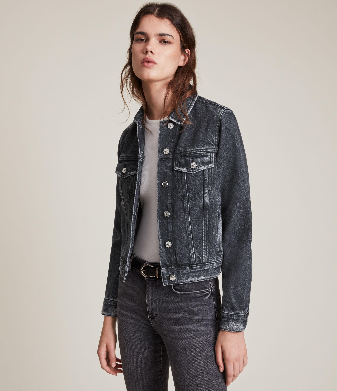AllSaints Women's Hay Denim Jacket, Washed Black, Size: 14