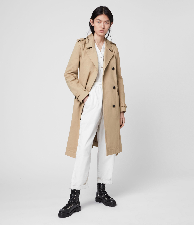 AllSaints Women's Cotton Regular Fit Chiara Trench Coat, Brown, Size: XS
