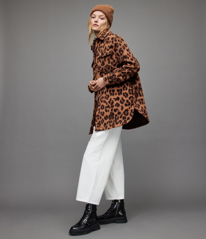 AllSaints Women's Sophie Leo Jacket, Brown, Size: 14