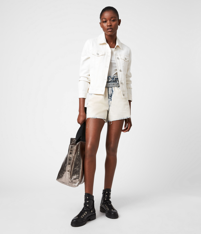 AllSaints Women's Hay Denim Jacket, Ecru White, Size: 4