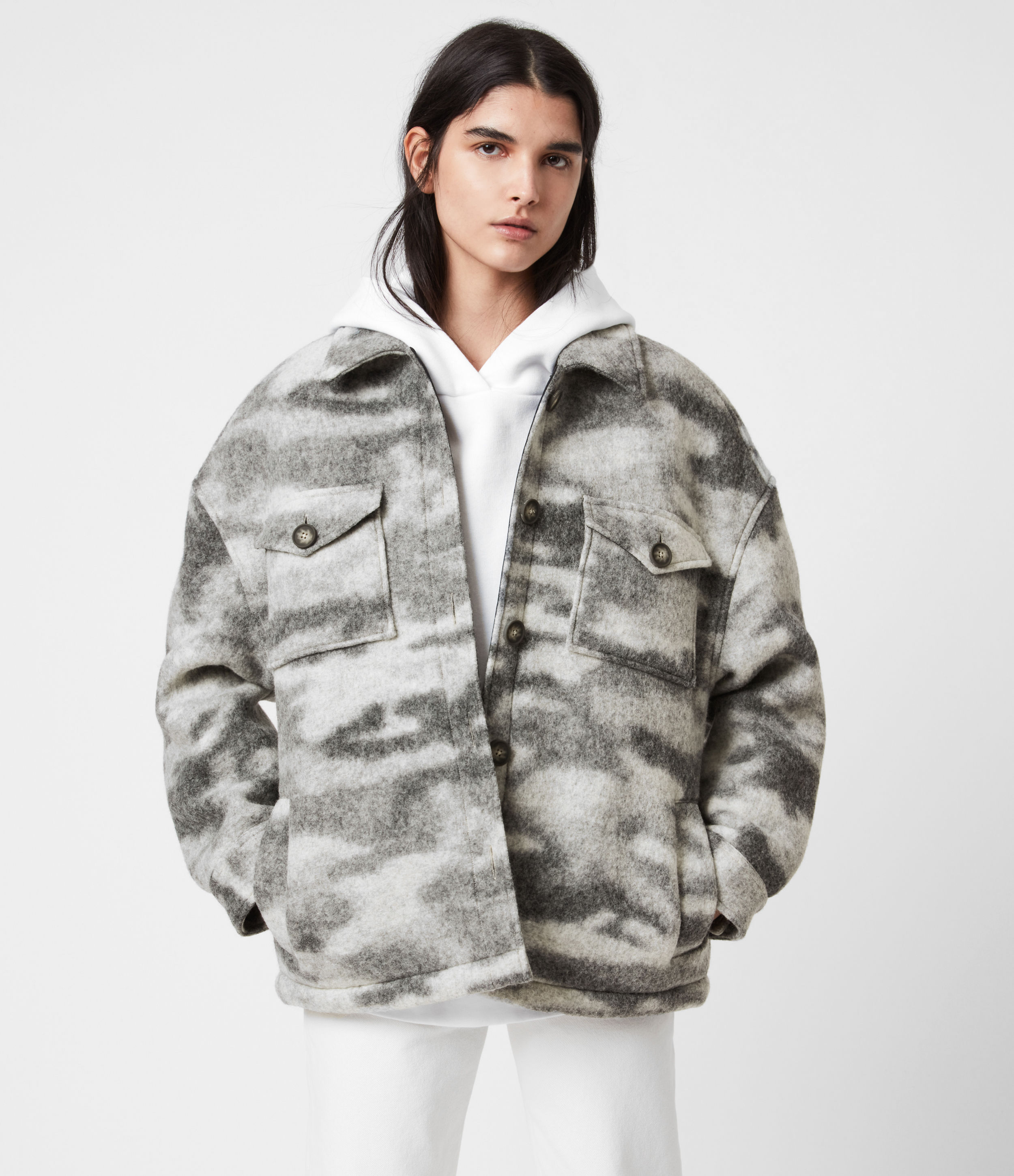 AllSaints Women's Wool Camouflage Relaxed Fit Fenix Sherpa Lined Jacket, Grey and White, Size: 2