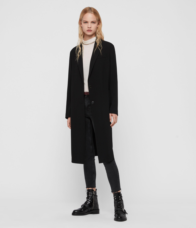 AllSaints Women's Lightweight Neva Duster Two Button Knee Length Coat, Black, Size: 6