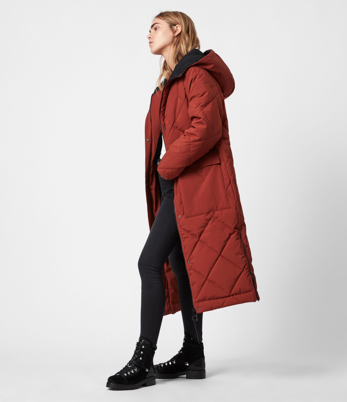 AllSaints Womens Lucie Ramskull Puffer Coat, Cinnamon Brown, Size: 12