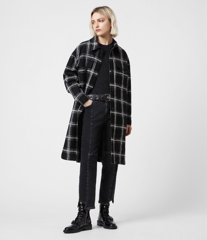AllSaints Nia Wool Blend Mono Coat, Black/grey, Womens, Size: 4