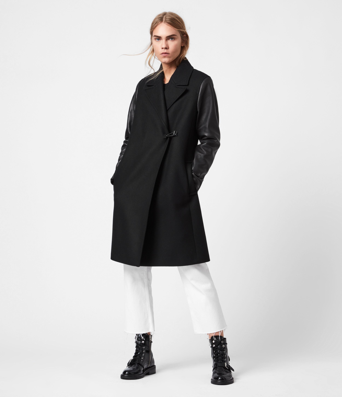 AllSaints Women's Wool Relaxed Fit Rosalind Lea Coat, Black, Size: 10