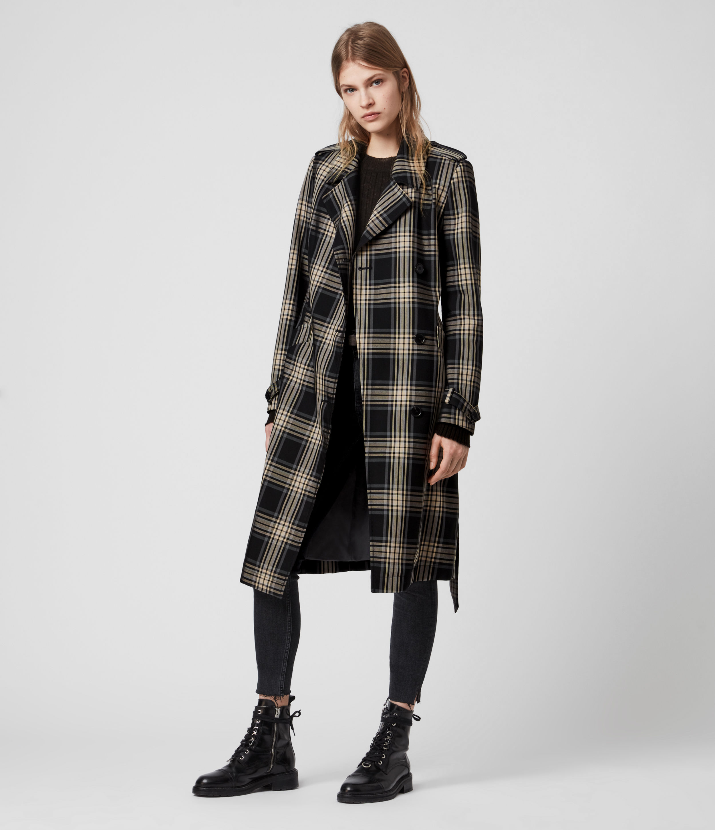 AllSaints Women's Check Lightweight Chiara Trench Coat, Black and White, Size: S