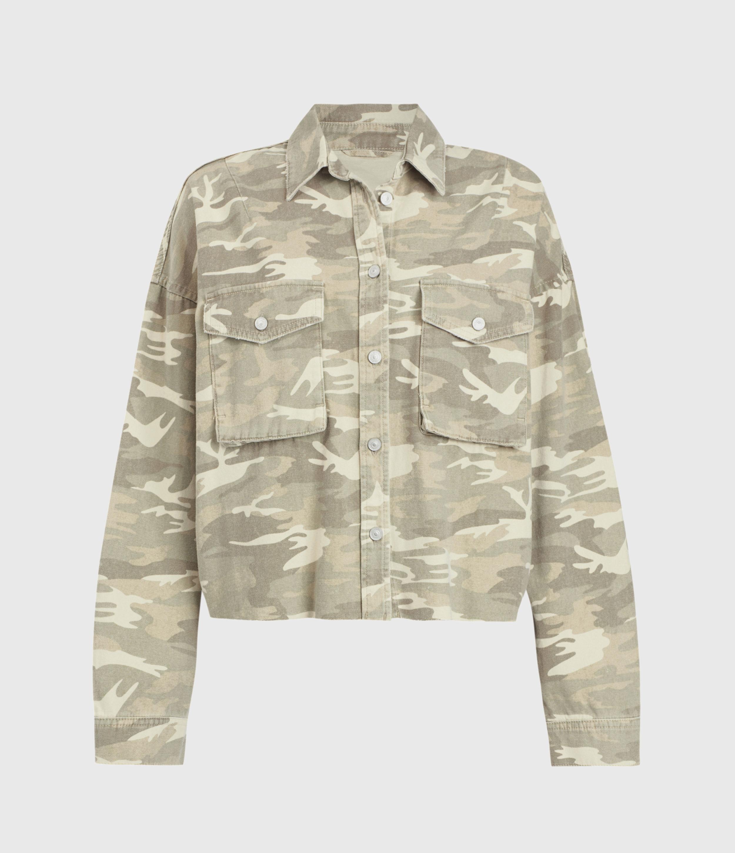 AllSaints Sol Camouflage Denim Shirt Jacket