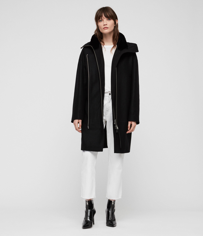AllSaints Womens Kai Parka, Black, Size: S