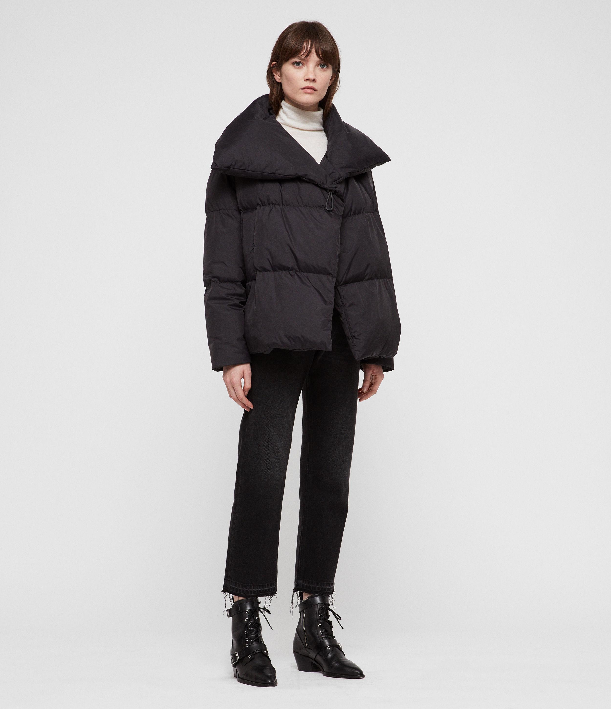 AllSaints Womens Vrai Avia Puffer Coat, Black, Size: L