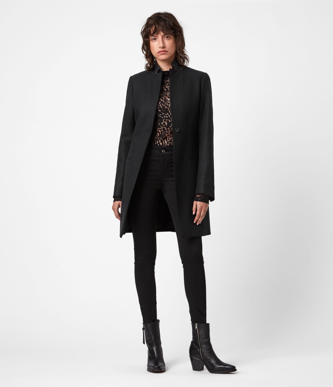 AllSaints Womens Leni Wool Blend Coat, Black, Size: 4