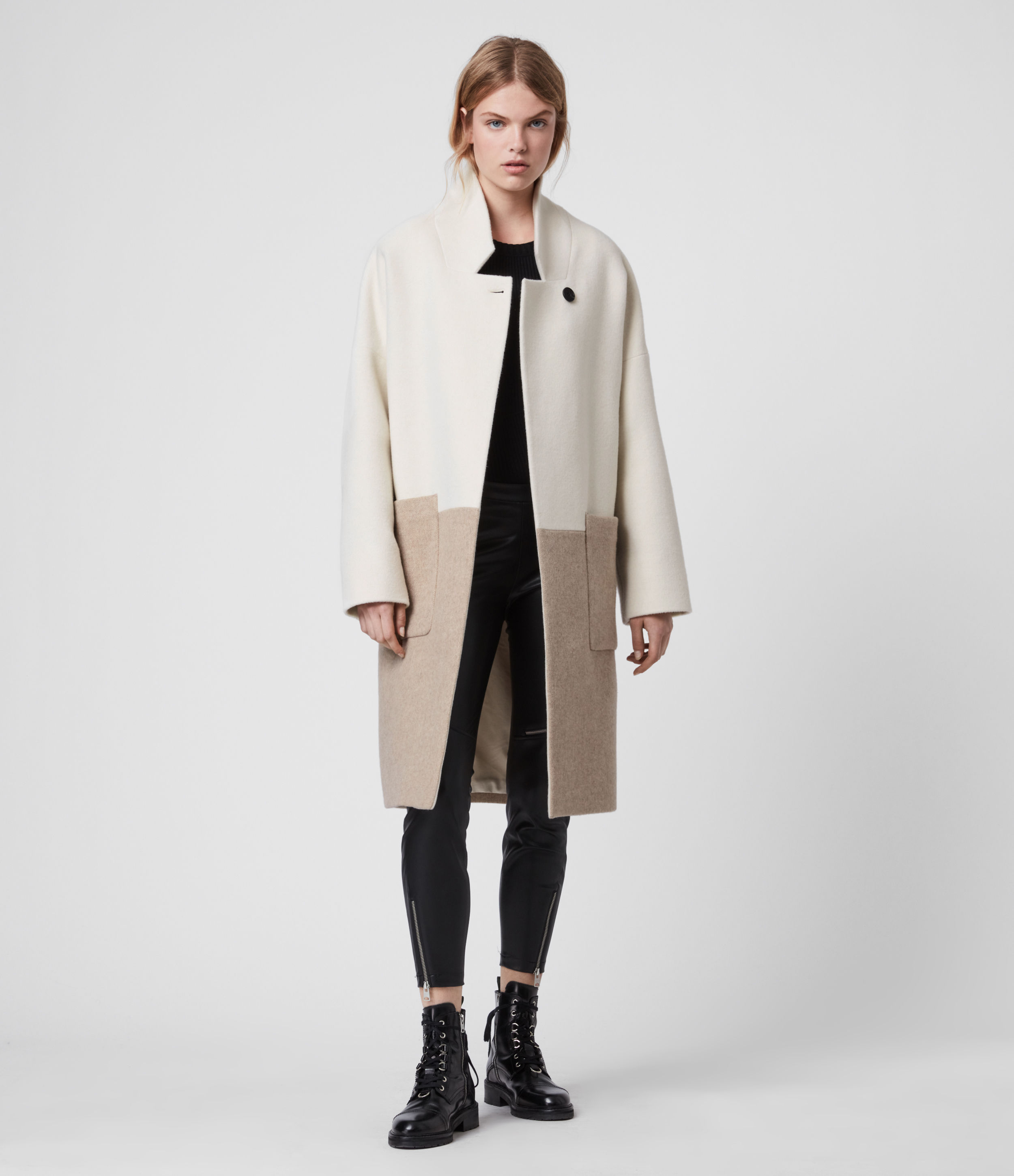 AllSaints Women's Wool Rylee Coat, White and Brown, Size: XS