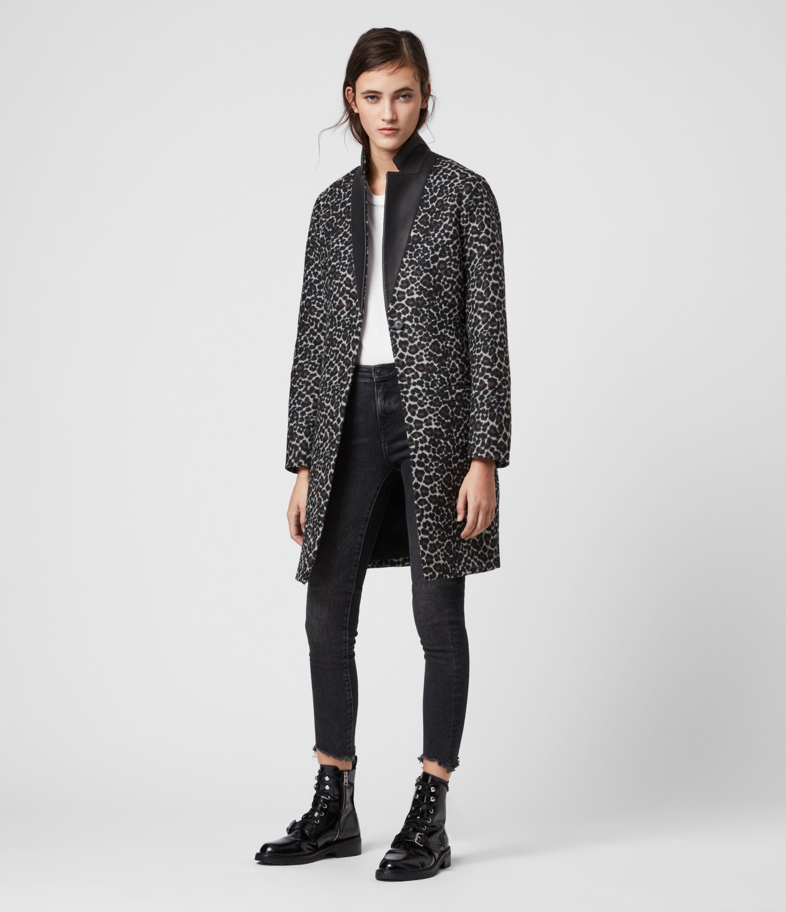 AllSaints Women's Leopard Print Slim Fit Leni Leo Coat, Brown, Size: 8