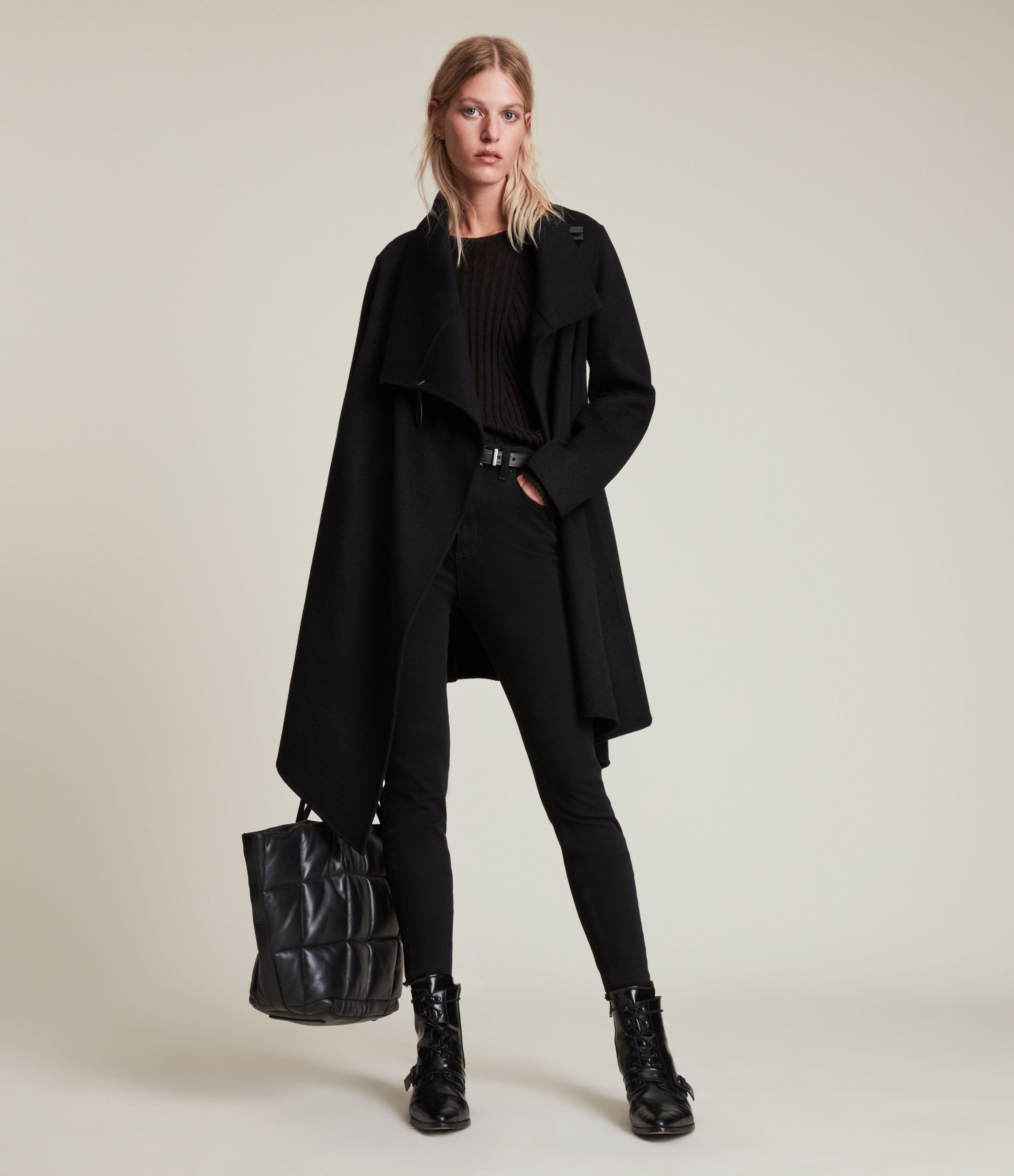 AllSaints Women's Regular Fit Wool Asymmetric Monument Eve Coat, Black, Size: 4