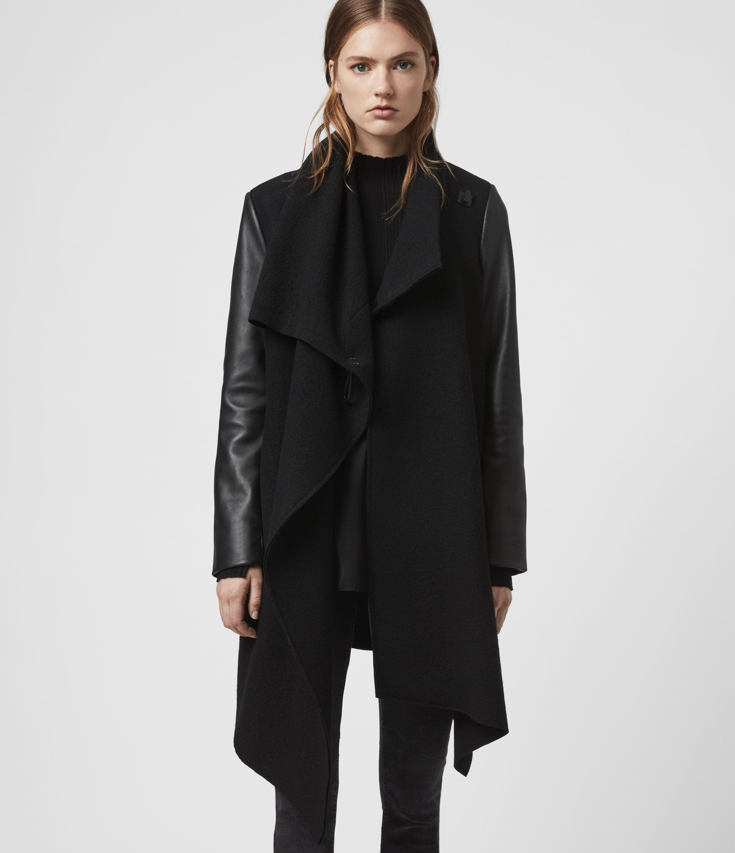 AllSaints Women's Leather Regular Fit Monument Lea Wool And Coat, Black, Size: 4
