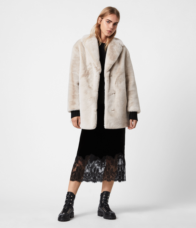 AllSaints Womens Amice Faux Fur Jacket, Alpaca White, Size: 2