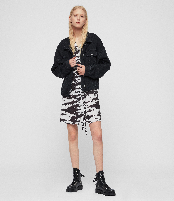 AllSaints Women's Cotton Piper Oversized Denim Jacket, Black, Size: XS/S