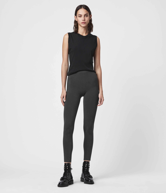 AllSaints Women's Cotton Bri Leggings, Black, Size: L
