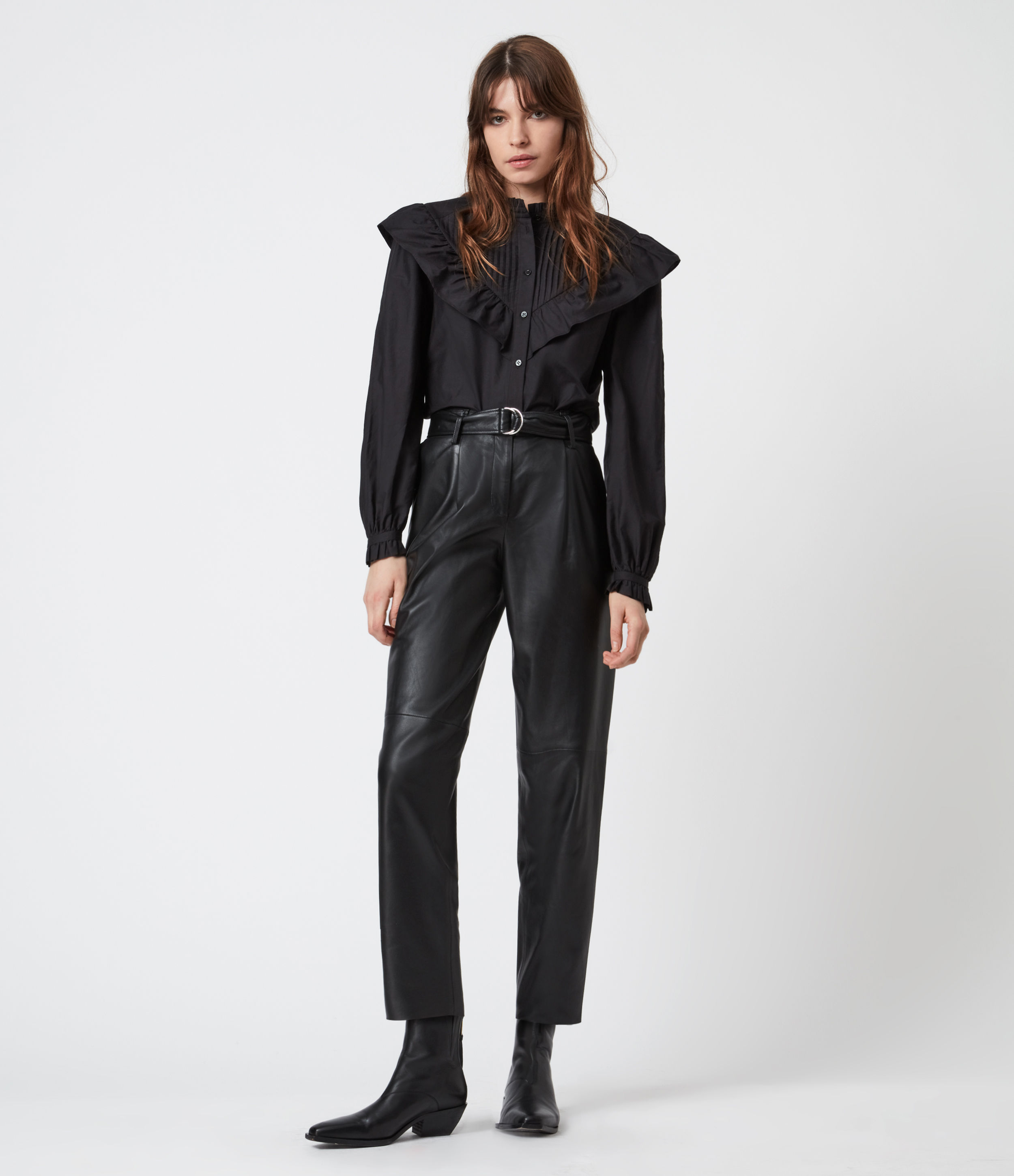 AllSaints Women's Leather Relaxed Fit Lana High-Rise Trousers, Black, Size: 10