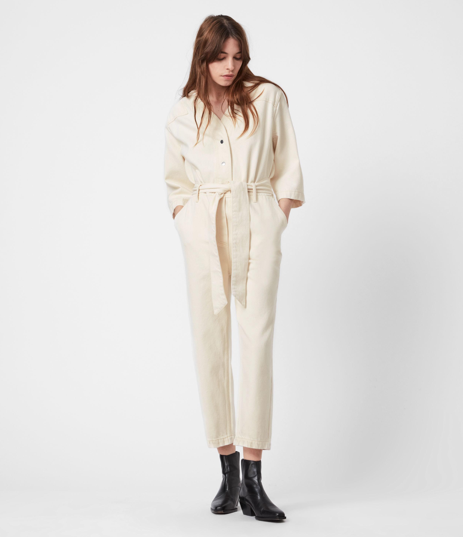 AllSaints Women's Mira Utility Denim Jumpsuit, Natural White, Size: 14