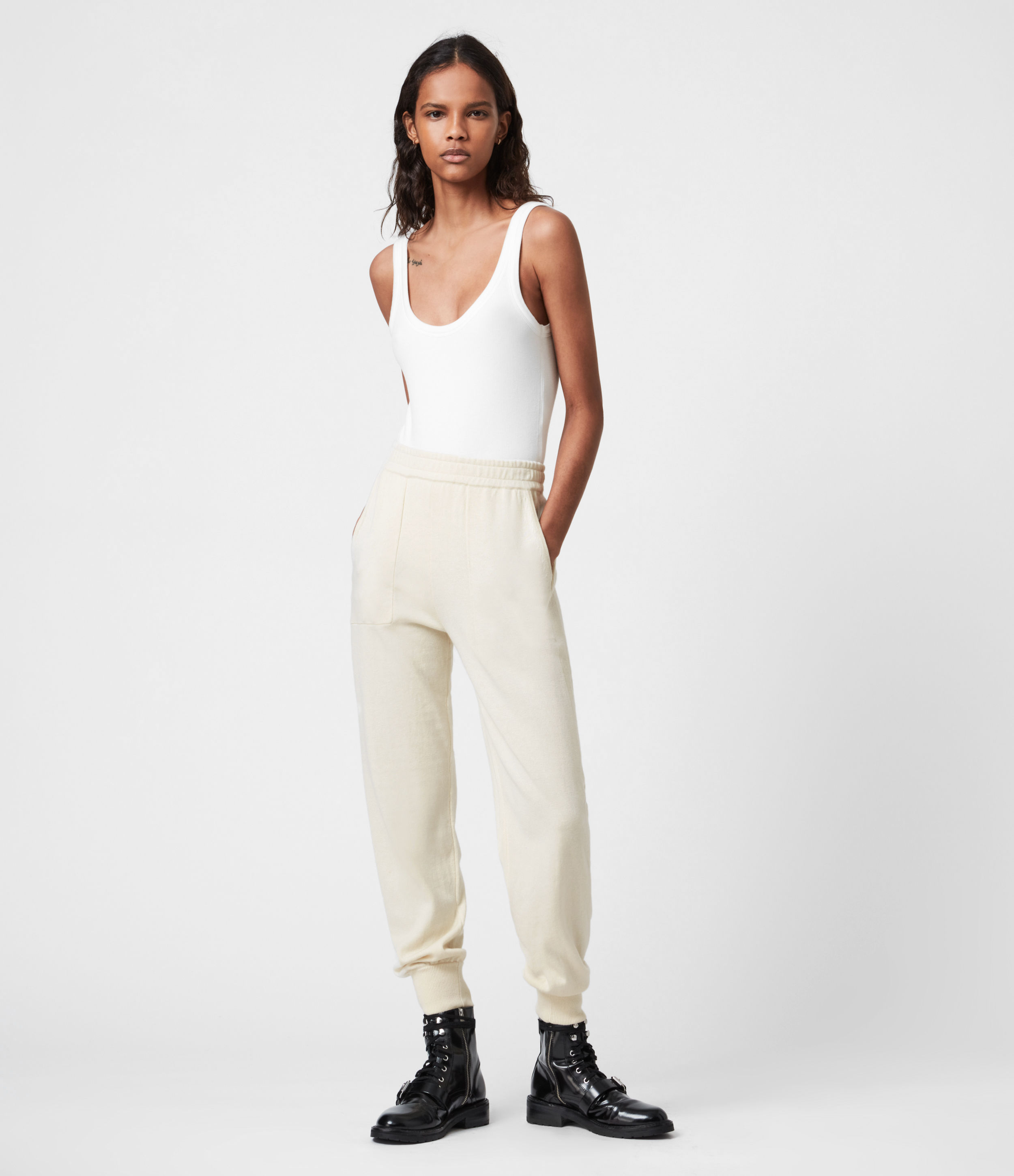 AllSaints Women's Eli Cuffed Relaxed Joggers, Cream White, Size: S