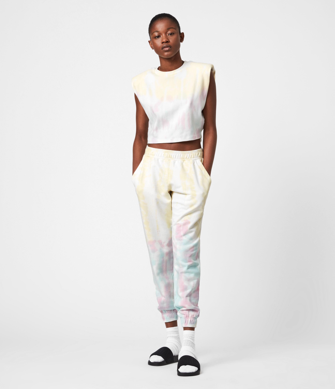 AllSaints Women's Pippa Tie Dye Joggers, Yellow/lilac, Size: 14
