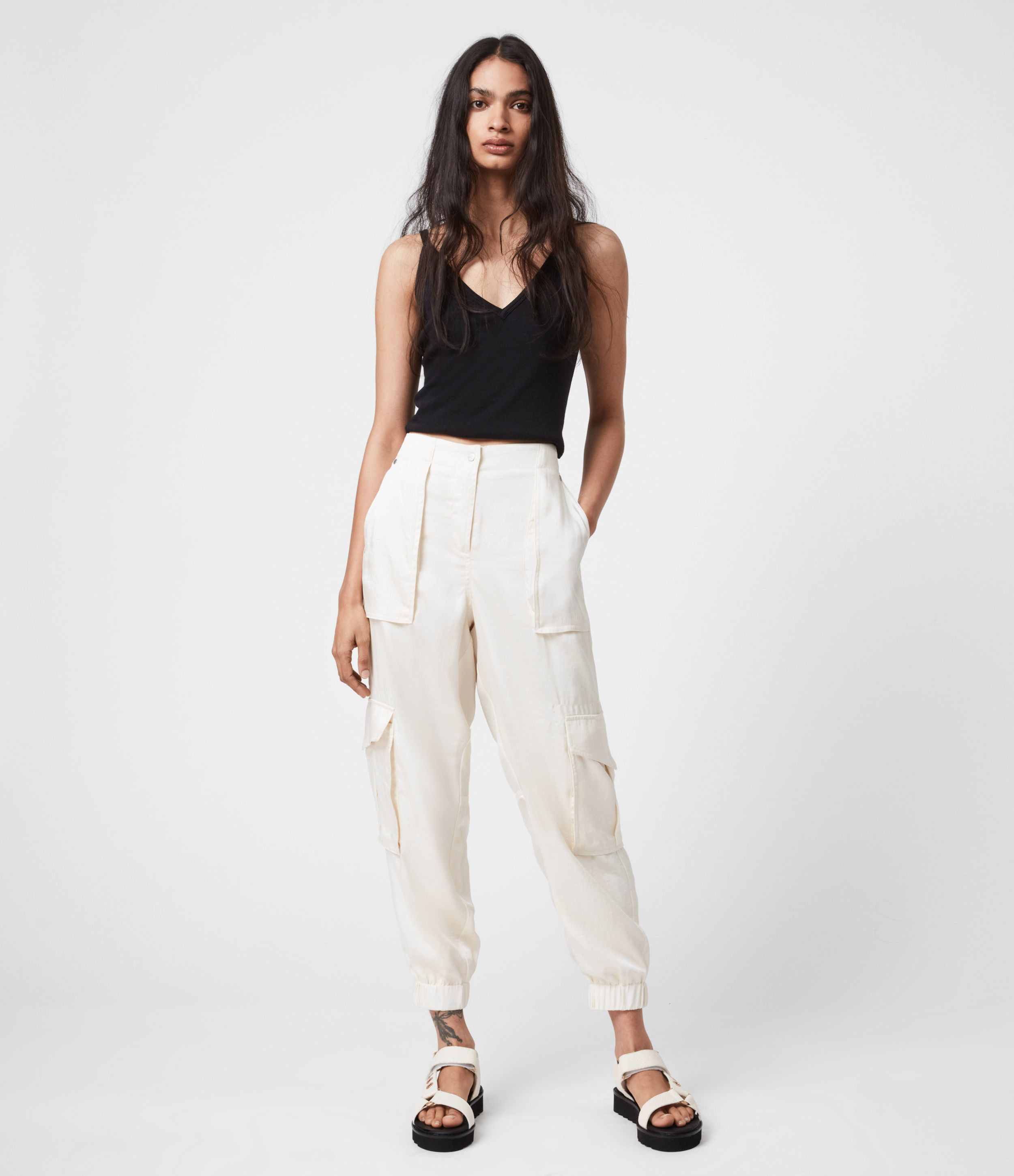 AllSaints Womens Frieda Mid-Rise Cuffed Trousers, Cream White, Size: 12