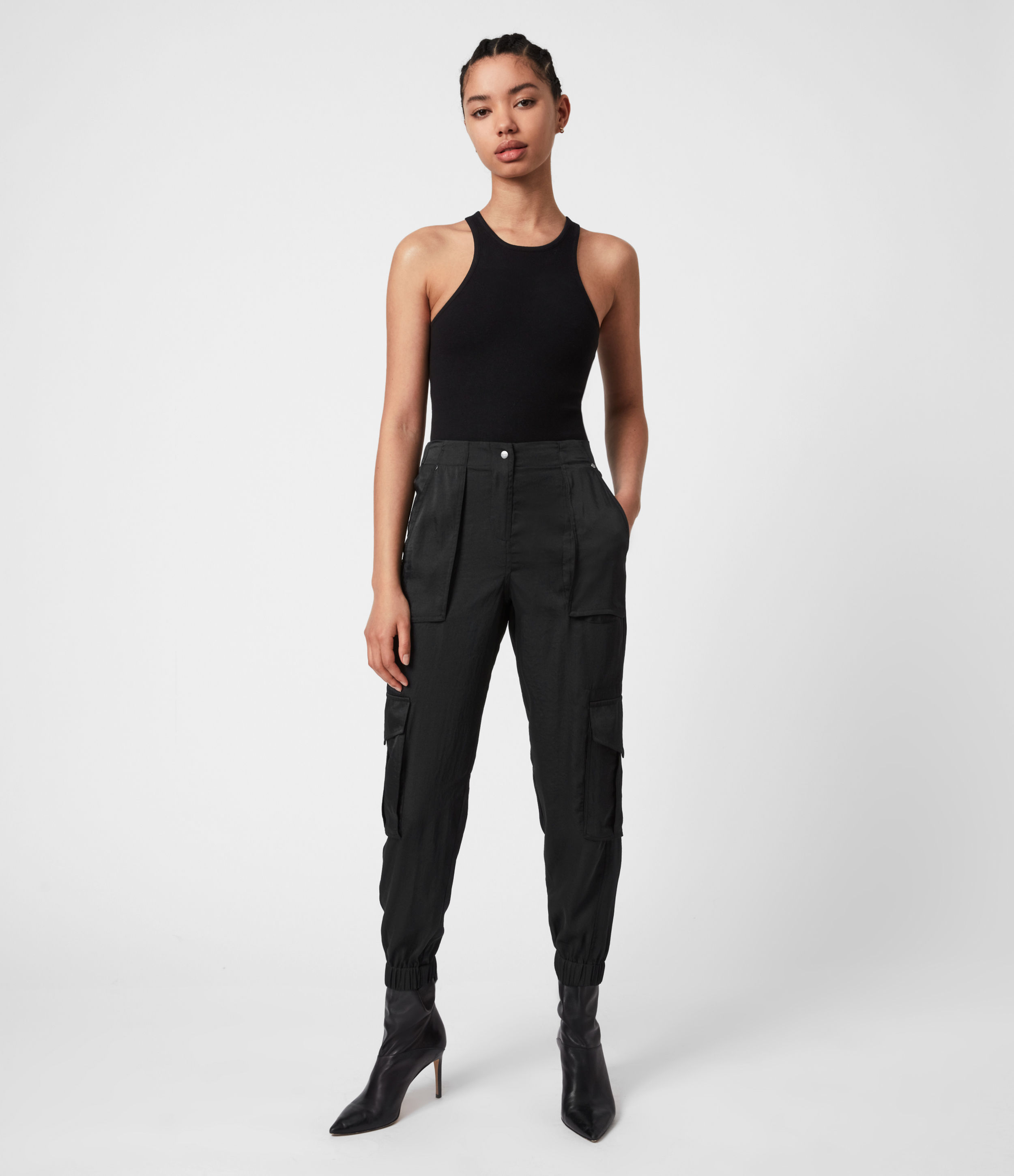AllSaints Womens Frieda Mid-Rise Cuffed Trousers, Black, Size: 8