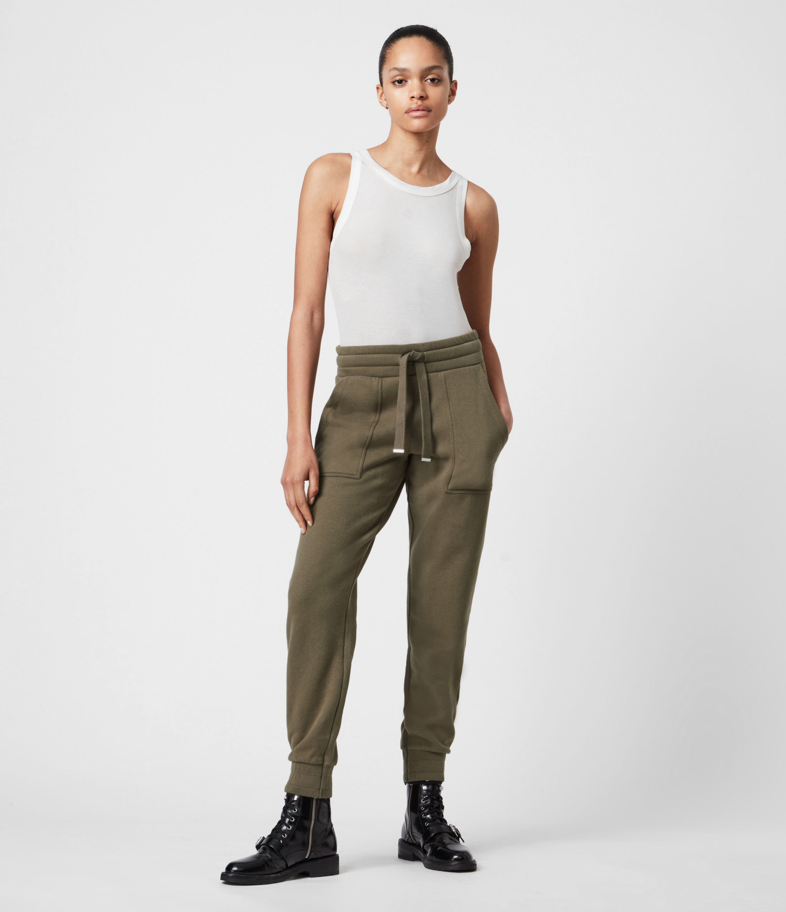 AllSaints Women's Cotton Relaxed Fit Lucia Cuffed Sweatpants, Green, Size: 2