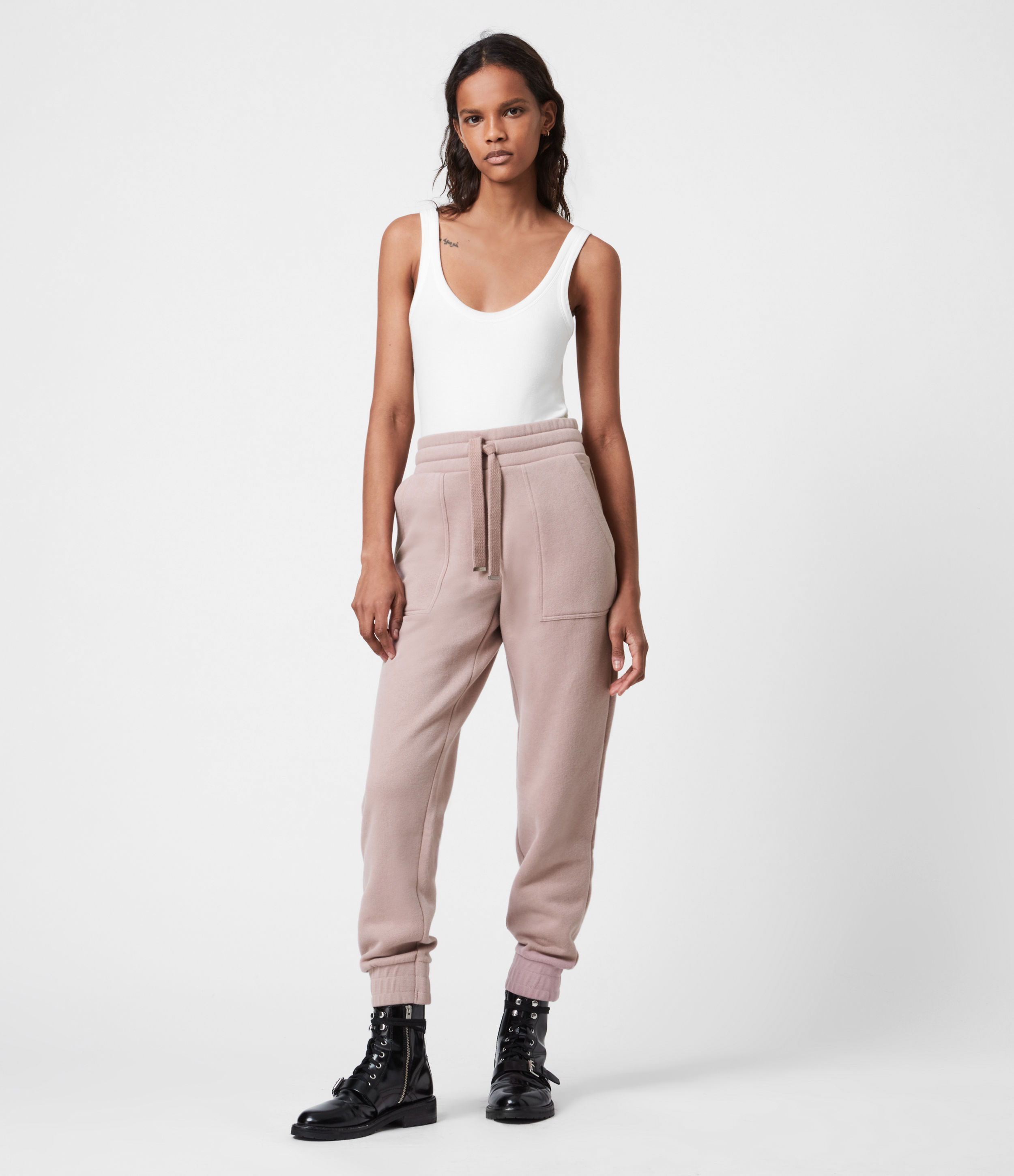 AllSaints Women's Lucia Cuffed Relaxed Sweatpants, Morning Mauve, Size: 8