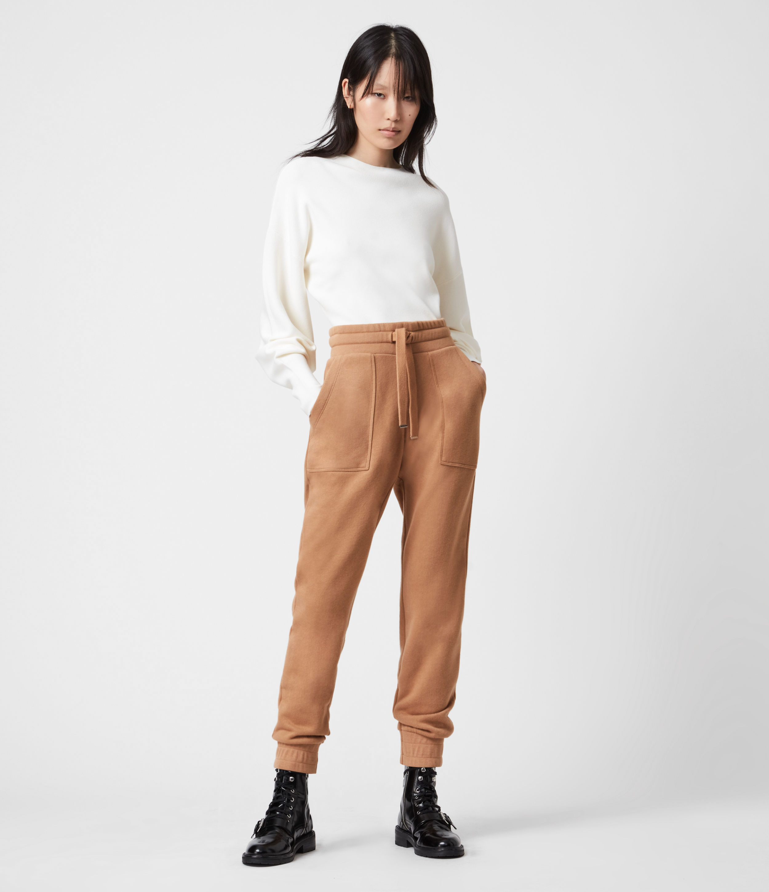 AllSaints Women's Cotton Relaxed Fit Lucia Cuffed Sweatpants, Brown, Size: 10