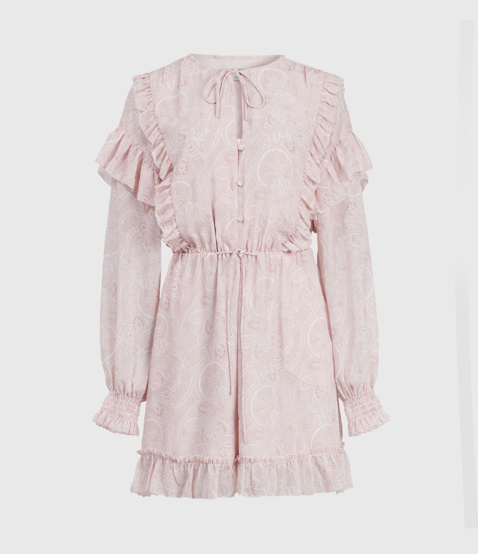 AllSaints Womens Ellis Shahmina Playsuit, Light Pink, Size: 12