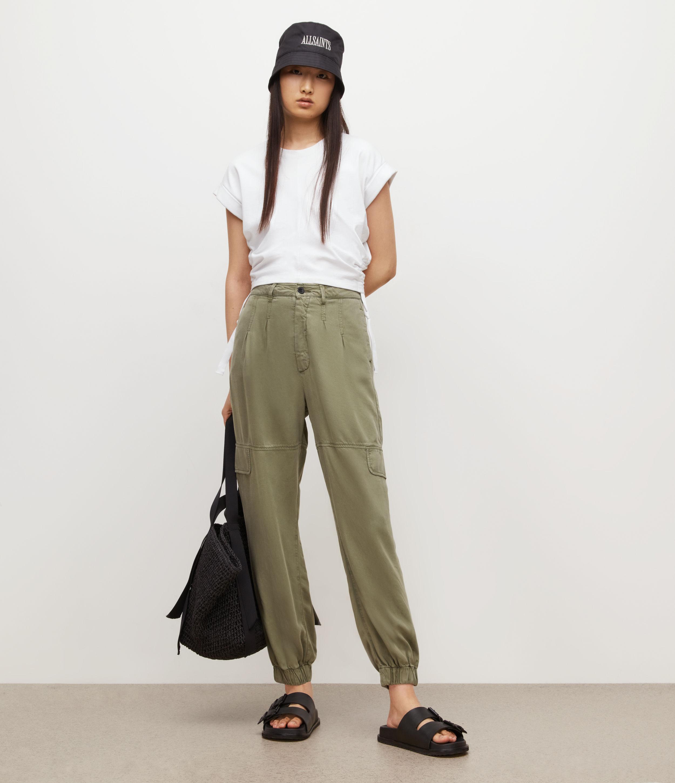AllSaints Women's Lira High-Rise Trousers, Khaki Green, Size: 8