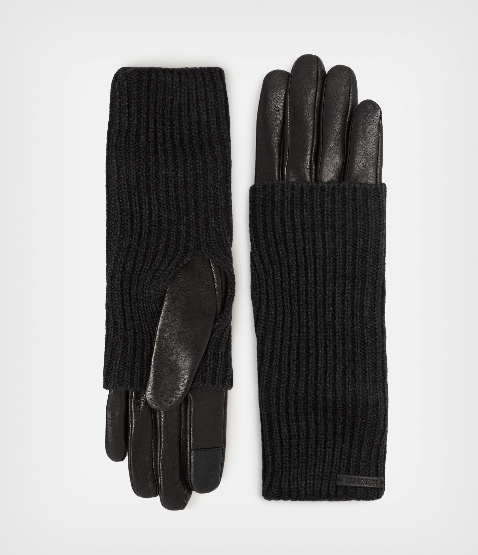 AllSaints Women's Leather Knit Cuff Gloves, Black, Size: L
