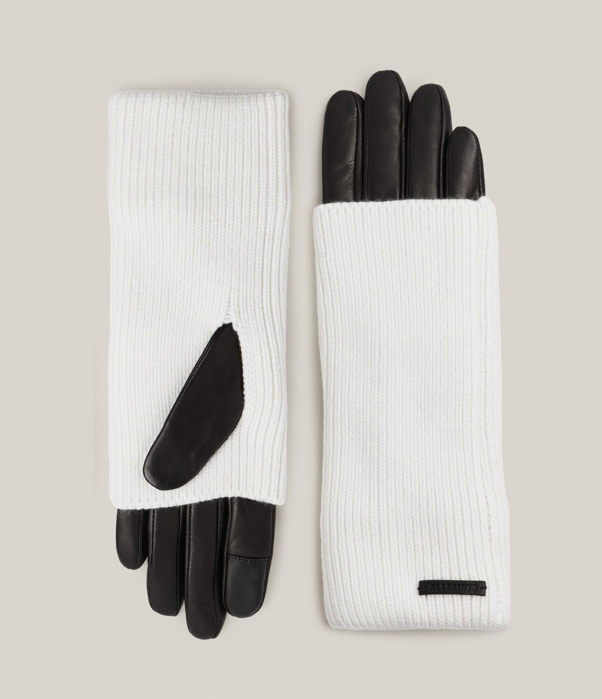 AllSaints Women's Knit Cuff Leather Gloves, White/Black, Size: L