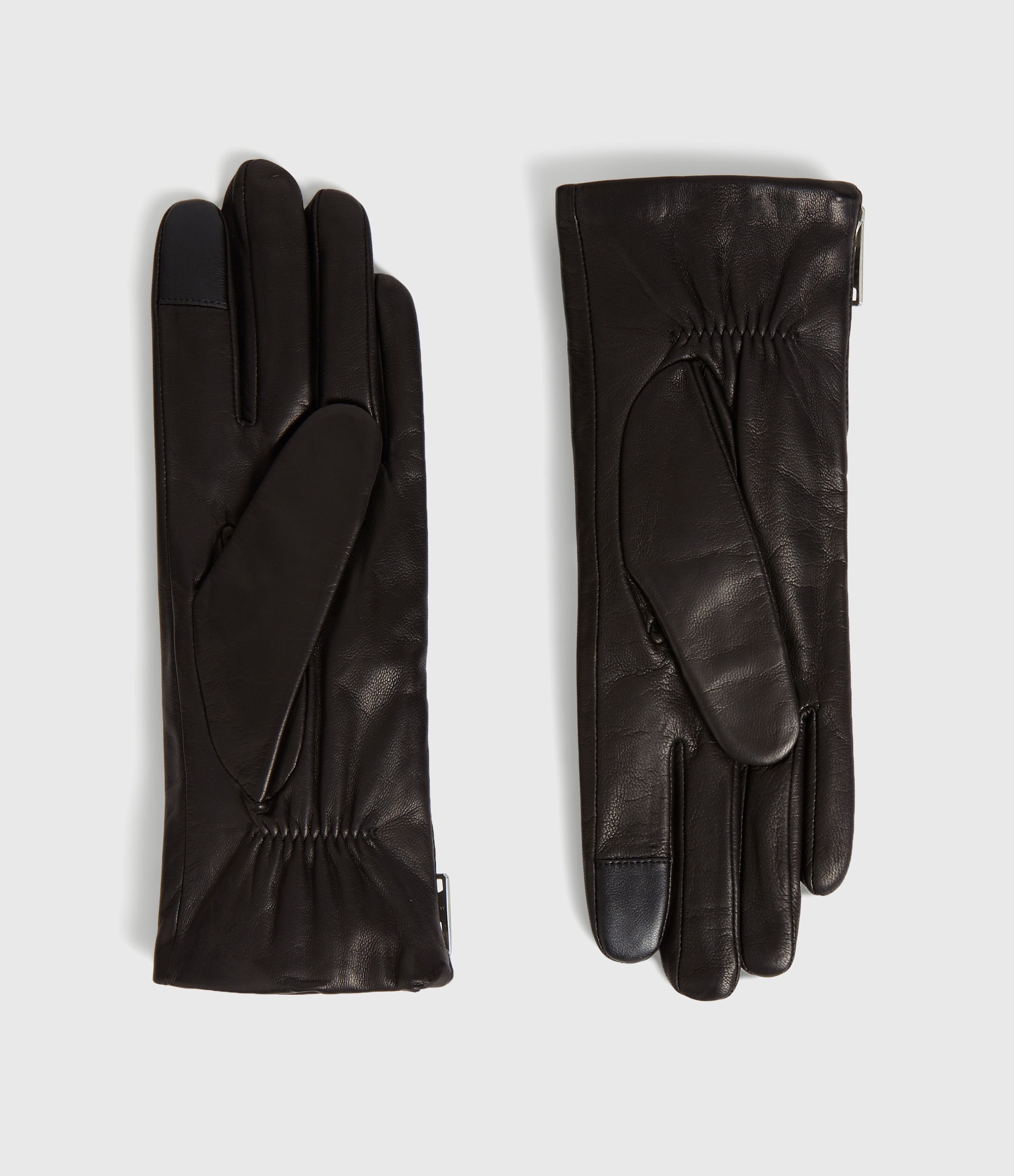 AllSaints Women's Leather Classic Zipper Touch Gloves, Black, Size: L