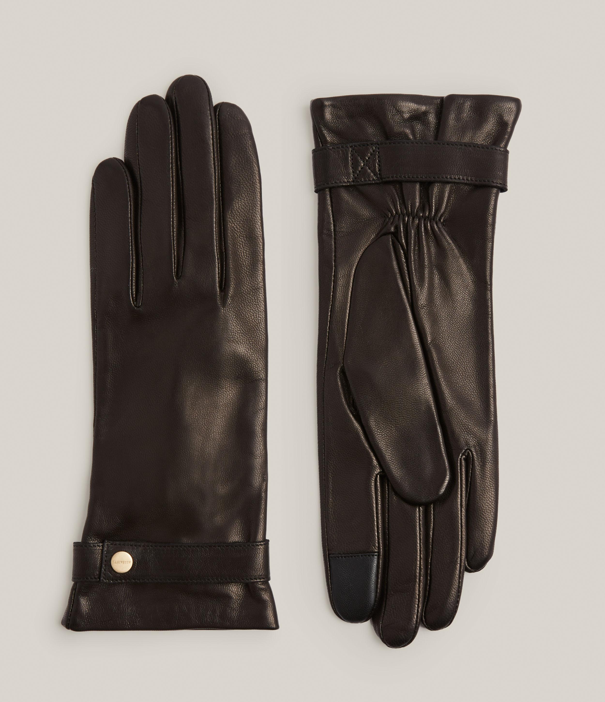 AllSaints Women's Lorna Leather Gloves, Black/warm Brass, Size: XS