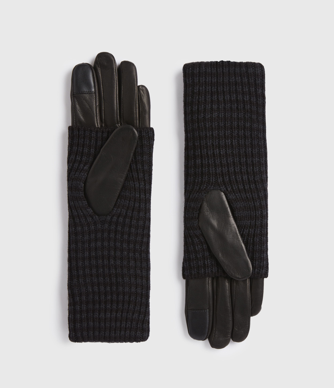 AllSaints Women's Stripe Cuff Leather Gloves, Cinder Black, Size: M