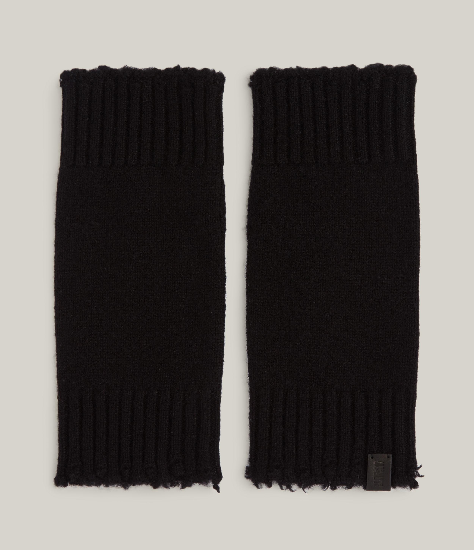 AllSaints Women's Frey Wool Arm Warmers, Black