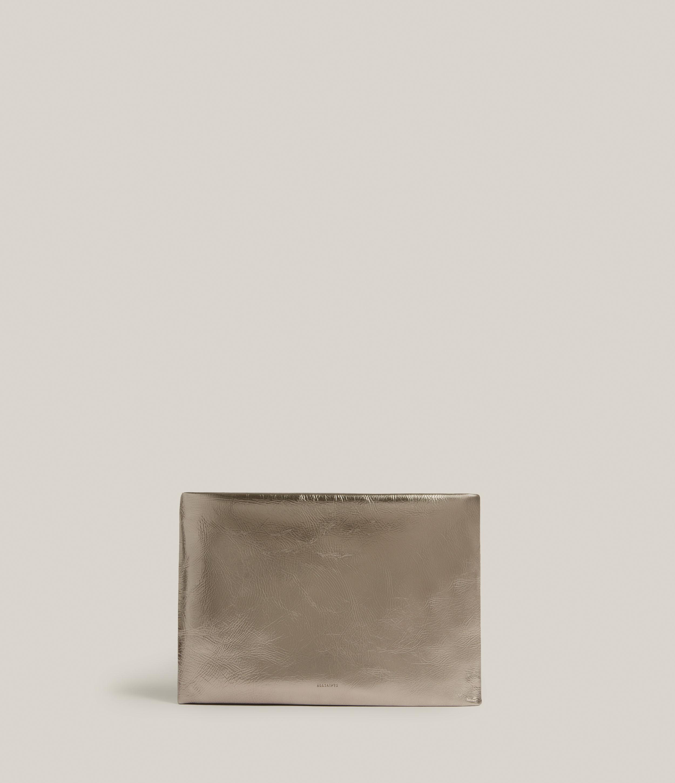 AllSaints Womens Bettina Leather Clutch Bag, Silver