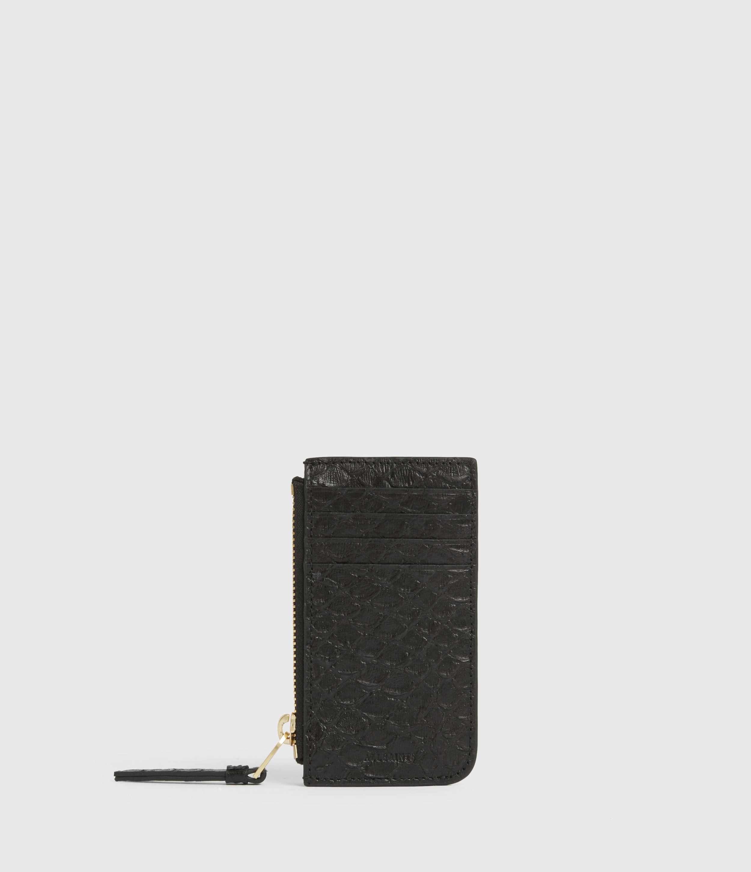 AllSaints Women's Marlborough Leather Wallet, Black Python, Black