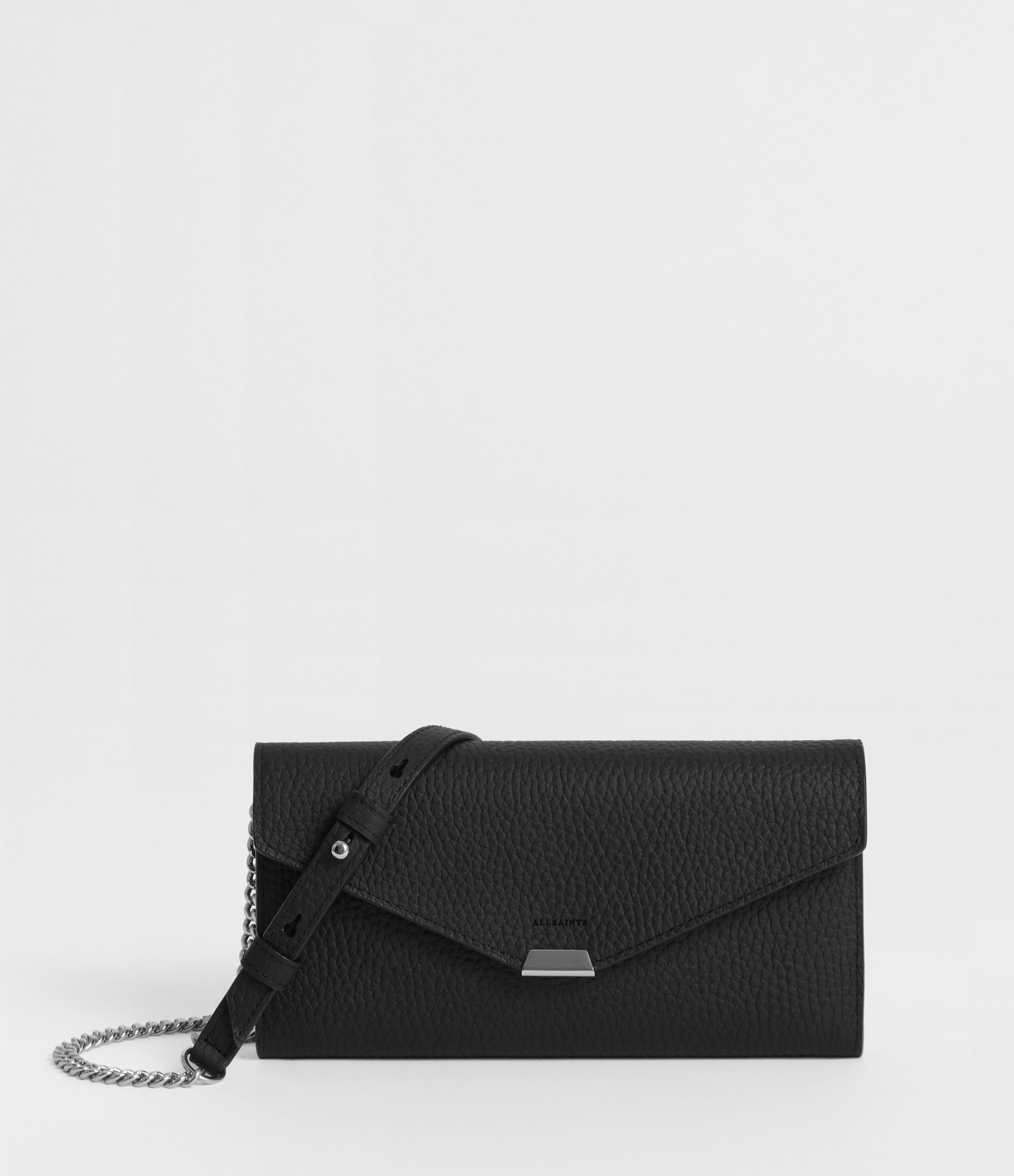 AllSaints Women's Leather Captain Chain Wallet, Black