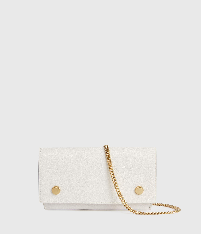 AllSaints Womens Albert Leather Wallet, ROE White